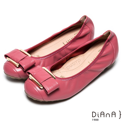 DIANA方釦蝴蝶結真皮圓頭平底娃娃鞋-都市歐風-櫻桃粉