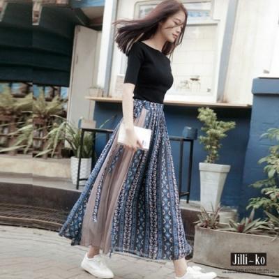 [時時樂限定]Jilli-ko 民族印花層次繫帶長裙- 藍