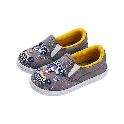 迪士尼 米奇 經典印花造型 休閒便鞋-灰