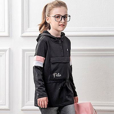 FILA KIDS 童連帽長版上衣-黑 5TES-8415-BK