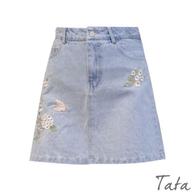 花朵刺繡牛仔裙 TATA-(S~L)