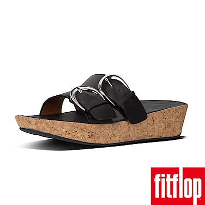 FitFlop DUO-BUCKLE SLIDE SANDALS 黑