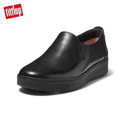 【FitFlop】RALLY SLIP-ON SNEAKERS 易穿脫時尚休閒鞋-女(靓黑色)