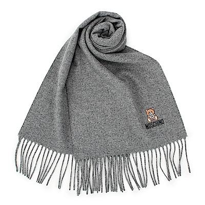 MOSCHINO 經典刺繡TOY小熊羊毛圍巾-淺灰色