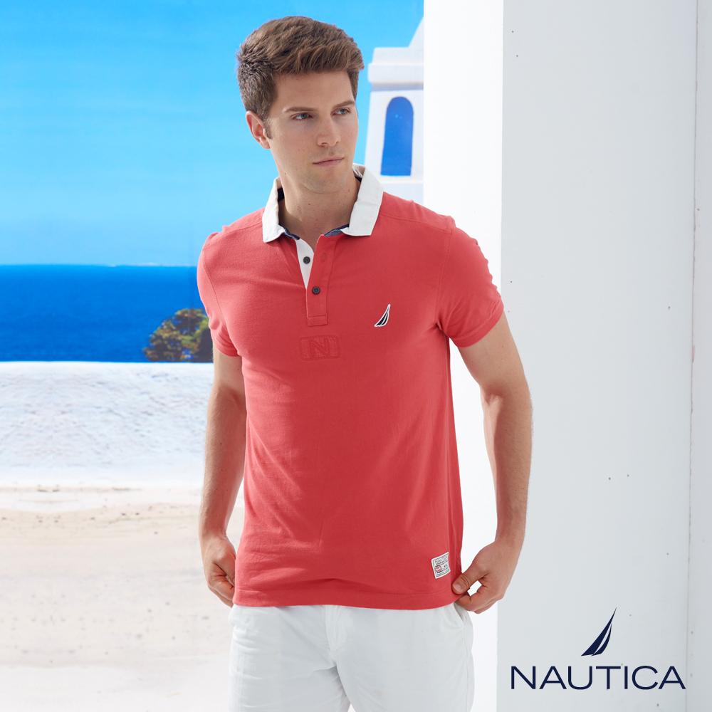 Nautica 經典撞色衣領短袖POLO衫-紅色