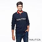 Nautica經典LOGO修身長袖POLO衫-深藍