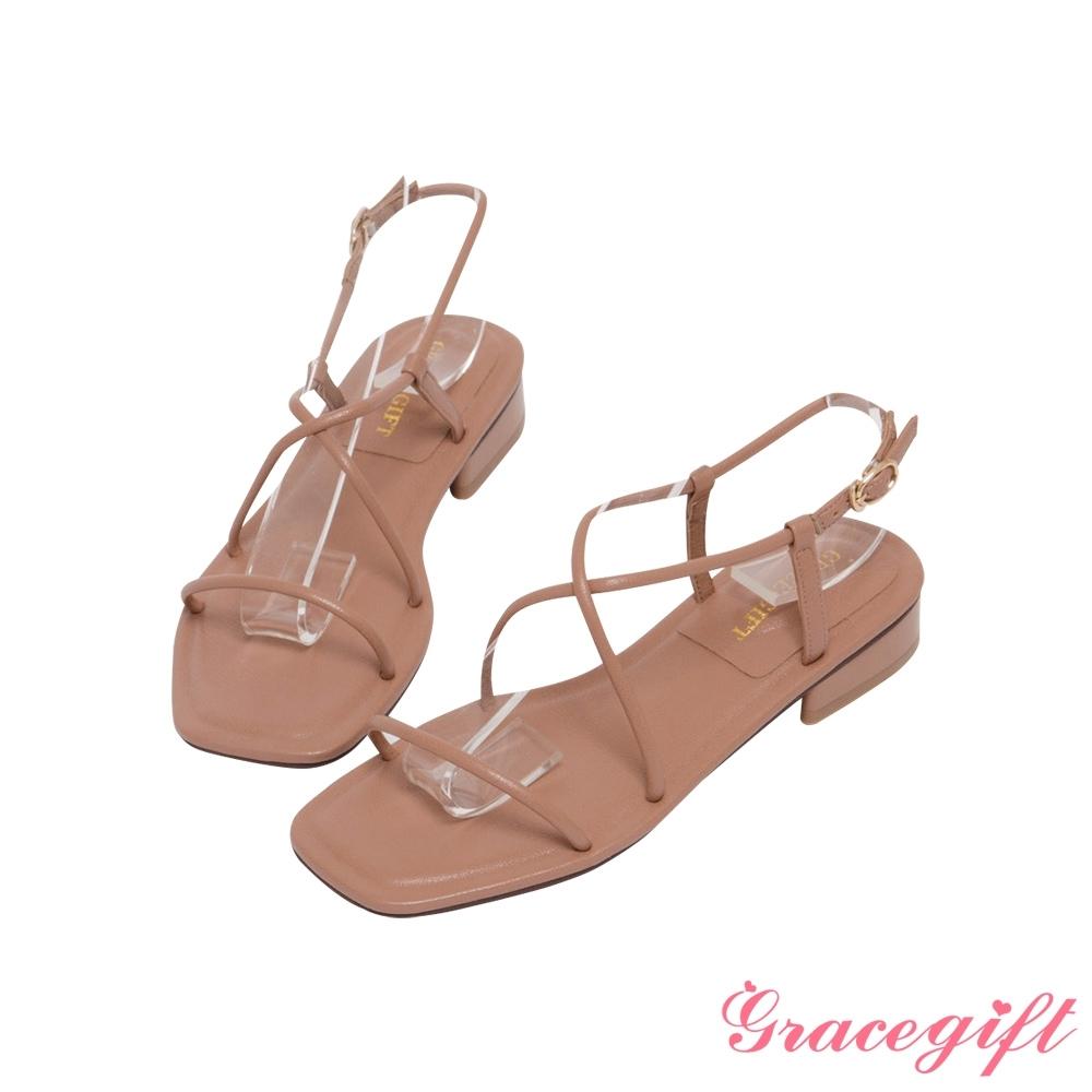 Grace gift-一字交叉繫踝低跟涼鞋 棕