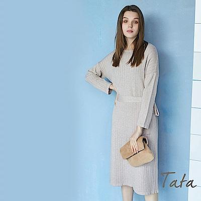 坑條圓領針織洋裝 (附綁帶) TATA