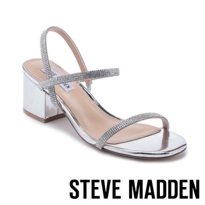 STEVE MADDEN-ISTA-R 金屬質感水鑽細帶交叉粗跟涼鞋-銀色