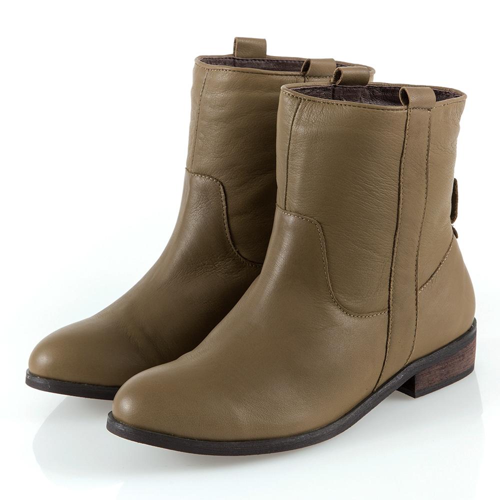 G.Ms. 牛皮素面工程短靴-橄欖