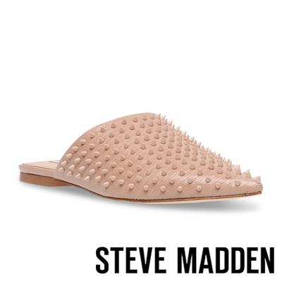 STEVE MADDEN-TIFF-S 鉚釘尖頭平底拖鞋-粉藕色