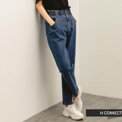 H:CONNECT 韓國品牌 女裝 -紙袋褲頭高腰Baggy牛仔褲-深藍色