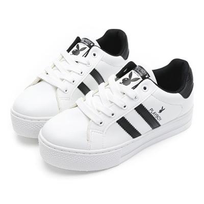 PLAYBOY彈性厚底小白鞋-白黑-Y62171C