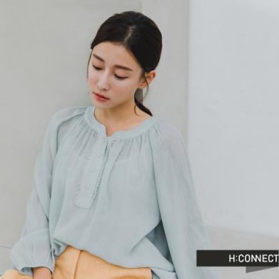 H:CONNECT 韓國品牌 女裝 -浪漫打摺捲邊排扣上衣-綠
