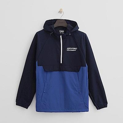 Hang Ten - 男裝 - ThermoContro-立領拉鍊機能帽T - 藍
