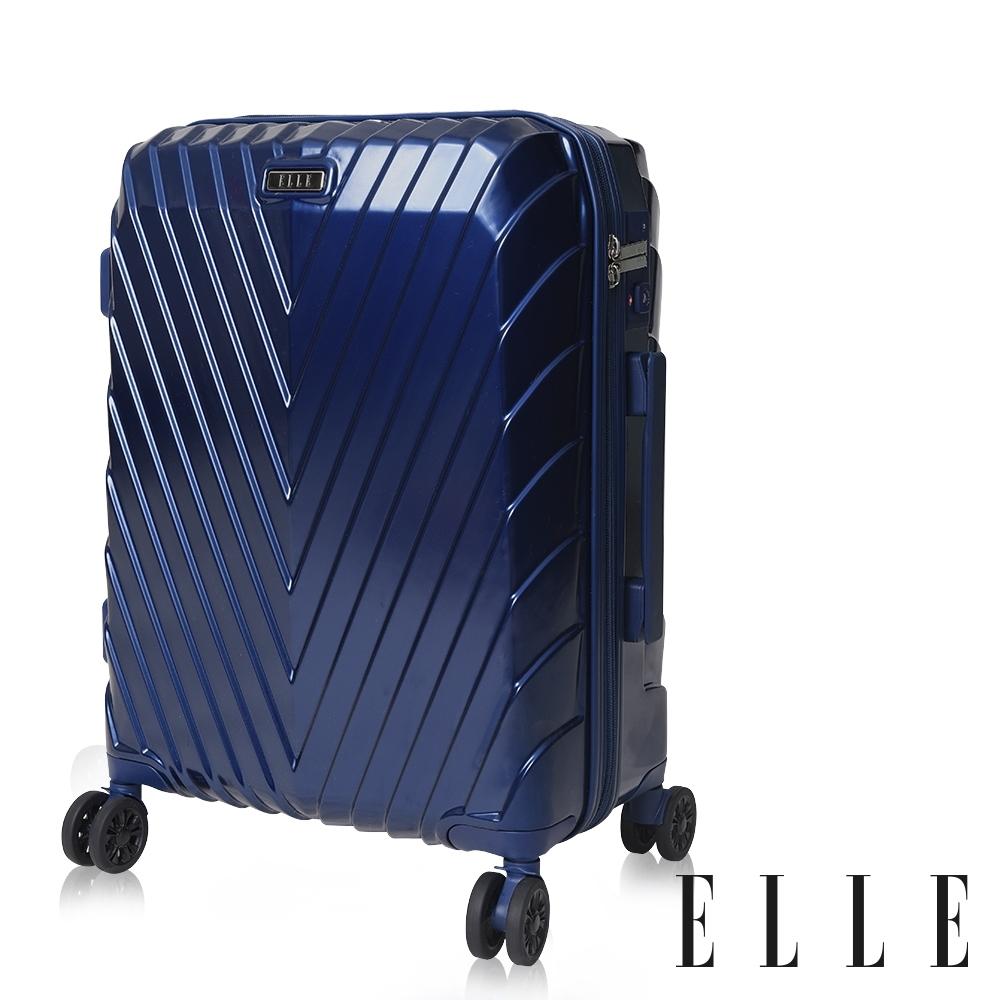 福利品 ELLE 法式V型鐵塔系列- 29吋純PC霧面防刮耐撞行李箱-午夜深藍