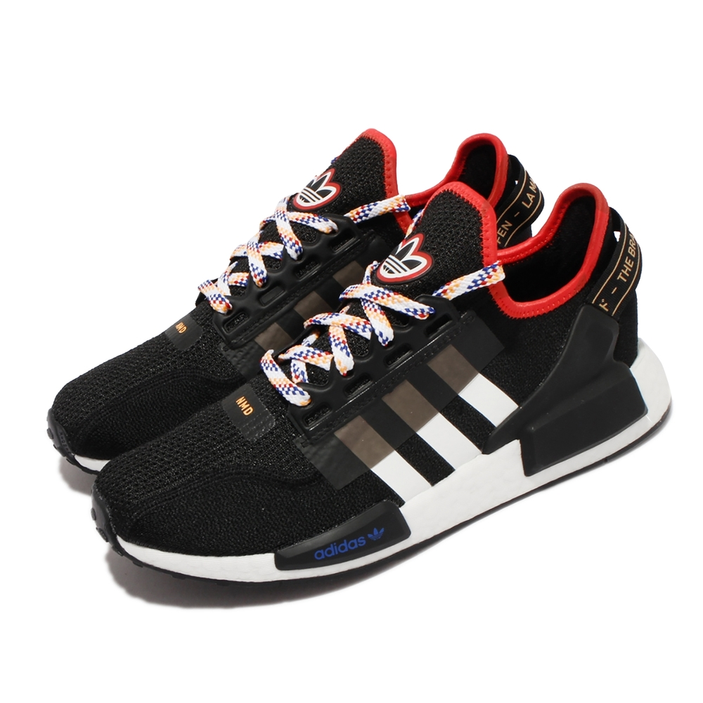 adidas 休閒鞋 NMD R1 V2 男鞋 愛迪達 三葉草 Boost中底 彩色鞋帶 黑 白 GY7913