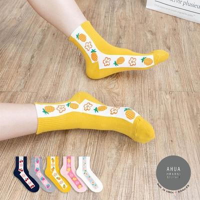 阿華有事嗎  韓國襪子  側邊直條水果中筒襪 韓妞必備 正韓百搭純棉襪
