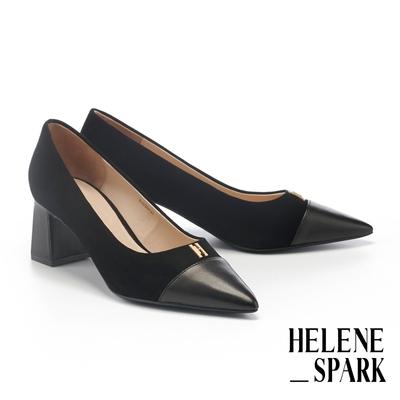 高跟鞋 HELENE SPARK 異材質拼接金屬H釦全真皮尖頭高跟鞋-黑