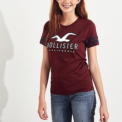 HCO Hollister 海鷗 經典刺繡大海鷗文字短袖T恤(女)-酒紅色