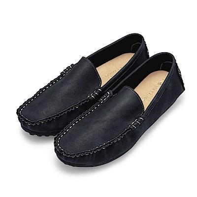 BuyGlasses 渲染手縫雅痞懶人鞋豆豆鞋-黑