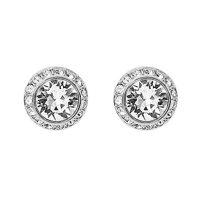 SWAROVSKI 施華洛世奇 璀璨水晶圓形造型銀色耳環