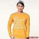 BOBSON 男款文字印圖長袖上衣(黃30)