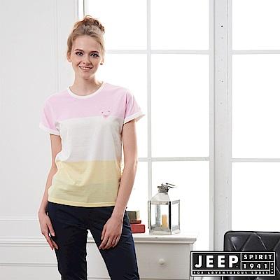 JEEP 女裝 清新造型拼接短袖TEE-粉色