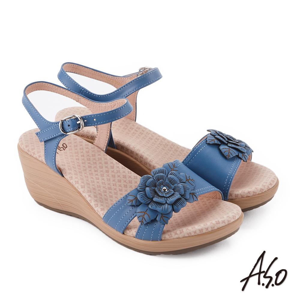 A.S.O 挺麗氣墊 立體花卉全真皮抗菌奈米鞋墊楔型涼鞋 藍