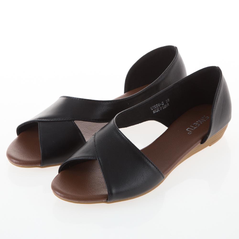 JMS-休閒風側挖空魚口小坡跟涼鞋-黑色