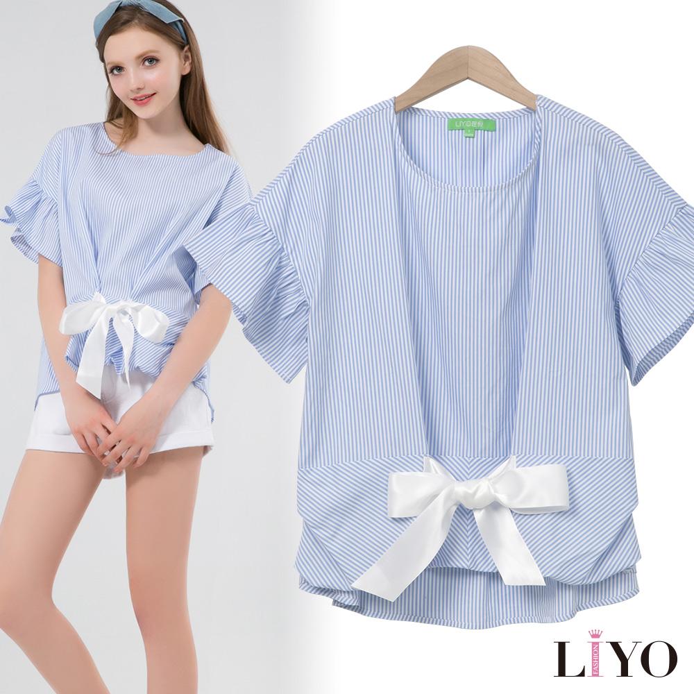 襯衫寬鬆落肩荷葉袖蝴蝶結條紋休閒圓領輕便防靜電上衣LIYO理優 S-XL