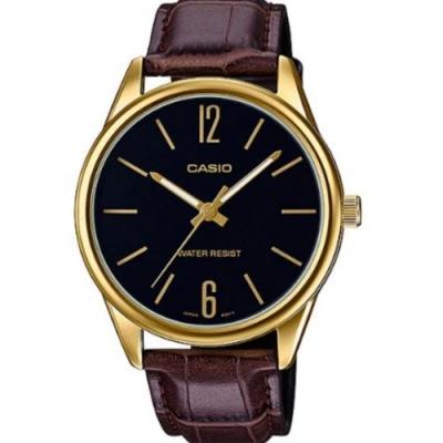 CASIO 簡約風範數字金邊皮帶腕錶(MTP-V005GL-1B)黑X金框/47mm
