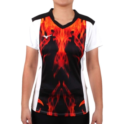 MIZUNO 2017企業排球聯賽 女排球短袖上衣-T恤 短T 企排 美津濃 紅黑