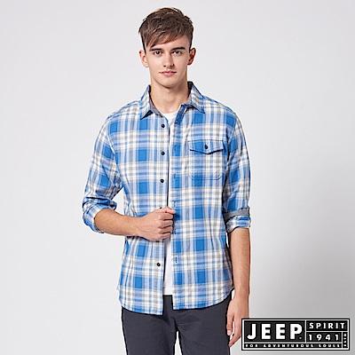 JEEP 經典百搭格紋長袖襯衫-藍色
