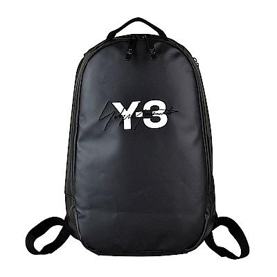 Y-3 經典印花LOGO刺繡造型防潑水帆布拉鍊後背包(黑)