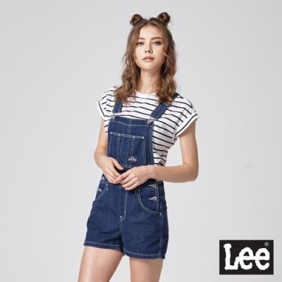 Lee 牛仔吊帶短褲涼感 女 中藍