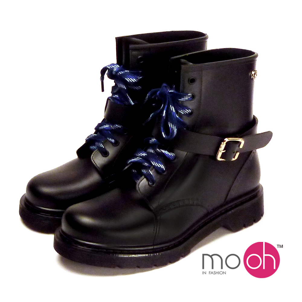mo.oh-.皮帶搭扣防水中筒馬丁雨鞋 -黑色