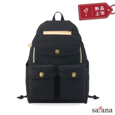 satana - Soldier 多功能拉鍊後背包 - 黑色