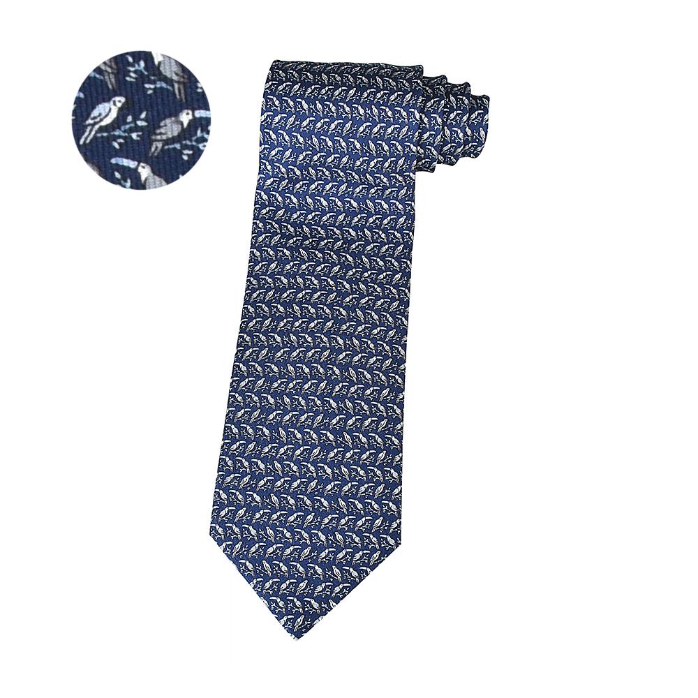 HERMES愛馬仕TWILLBI PEROCAN緹花LOGO大嘴鳥設計蠶絲領帶(深藍x灰