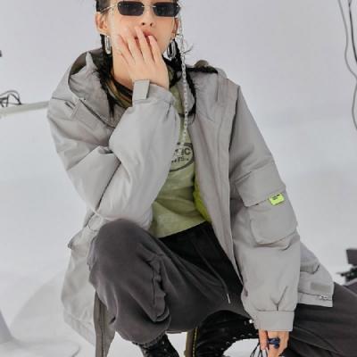 外套 撞色標籤連帽夾克外套RE7392-創翊韓都