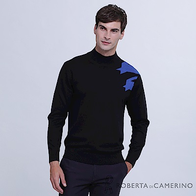 ROBERTA諾貝達 台灣製 舒適保暖 千鳥紋純美麗諾羊毛衣 藍黑