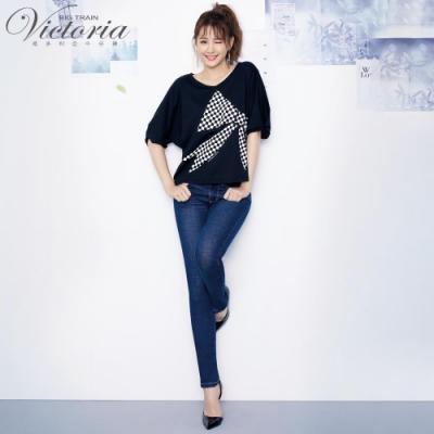 Victoria中腰前彎袋鑲鑚小直筒褲-女-深藍