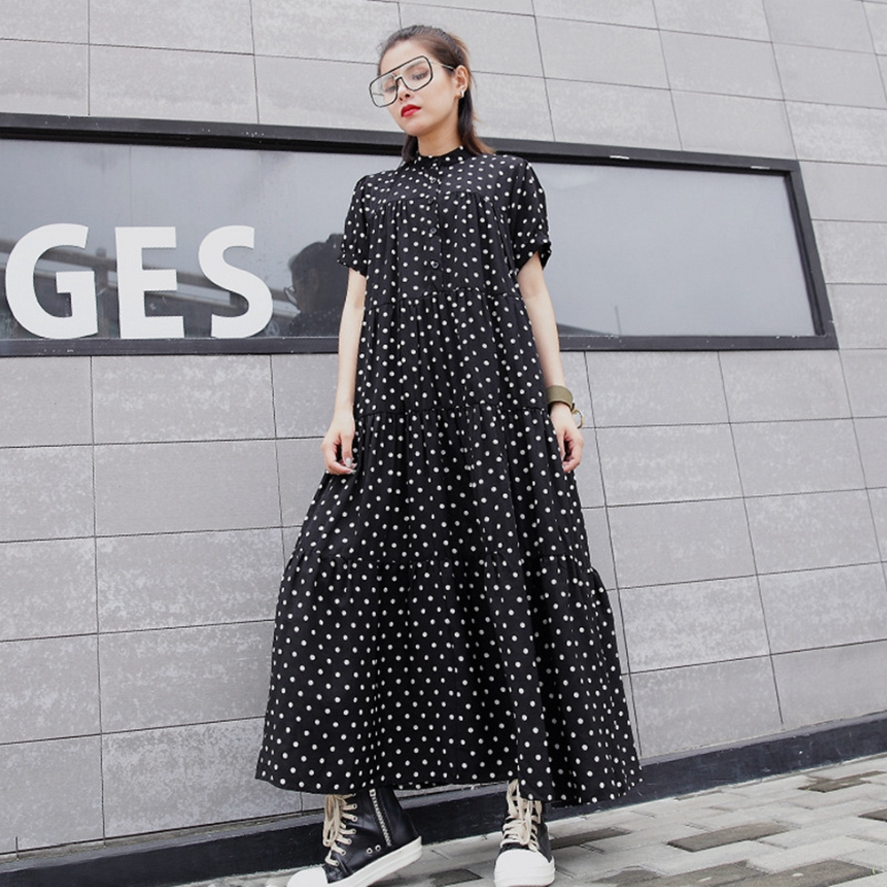 寬鬆立領短袖A字裙洋裝-F(共兩色)-CLORI