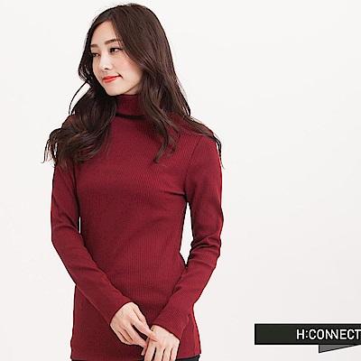 H:CONNECT 韓國品牌 女裝 - 高領純色直羅紋上衣-紅(快)
