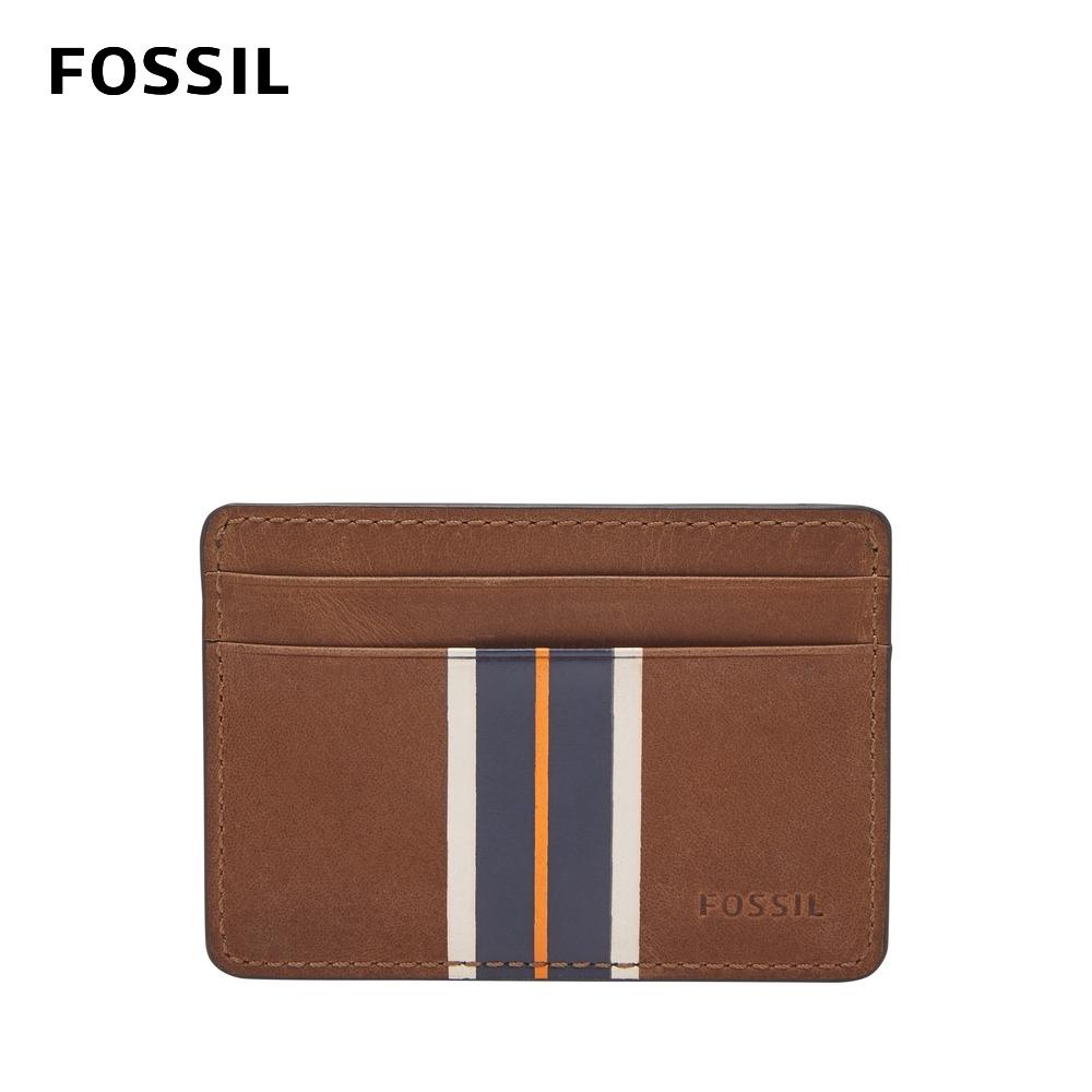 FOSSIL HANS 真皮卡夾-棕色x時尚條紋 ML4244222