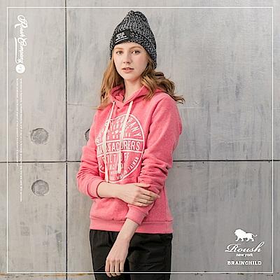 Roush 女生楓葉立體膠印刷毛帽TEE(2色)