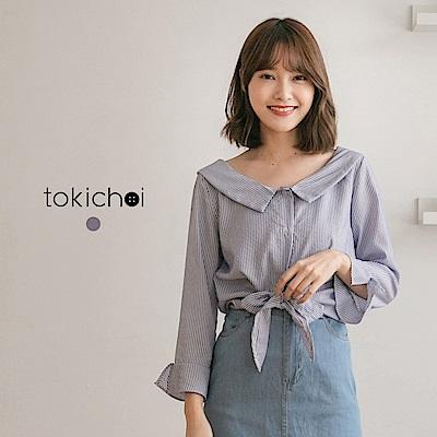 東京著衣 江南美人推薦藍白條紋綁帶上衣(共一色)