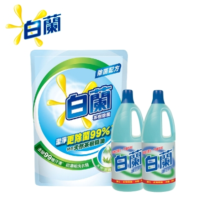 [白蘭除菌組]白蘭 濃縮洗衣精補充包1.6kgx6+漂白水1.5Lx2