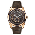 GUESS 奔馳再起三眼腕錶-咖啡-W0039G3-45mm
