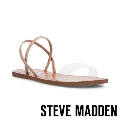 STEVE MADDEN-INSTANT 交叉條帶一字平底涼鞋-透明棕